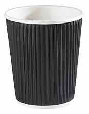 8oz Black Ripple Coffee Cups x500