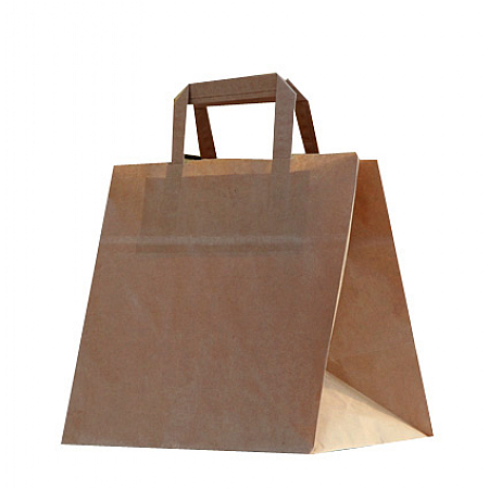 Wide Bottom Brown Takeaway Patisserie Bags Large