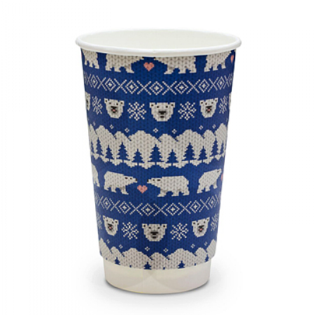 Christmas Cup Compostable Polar Bear 16oz x 400