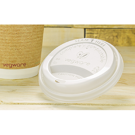 Vegware Lid White Compostable Hot Cup 89mm (fits 10-20oz cups)