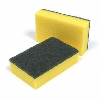Green/Yellow Sponge With Scourer 1x10